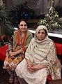 Pakistan based Urdu and Punjabi language poetess Safia Hayat with her mother.jpg