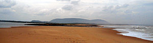Bheemunipatnam - Panoramic view of River Gosthani confluence into Bay of Bengal at Bhimili