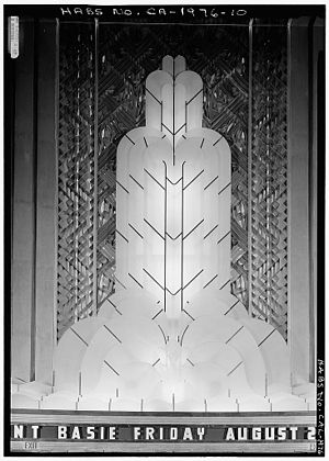 Paramount Theatre (Oakland, California) - Grand Lobby interior, Fountain of Light over entrance and marquee