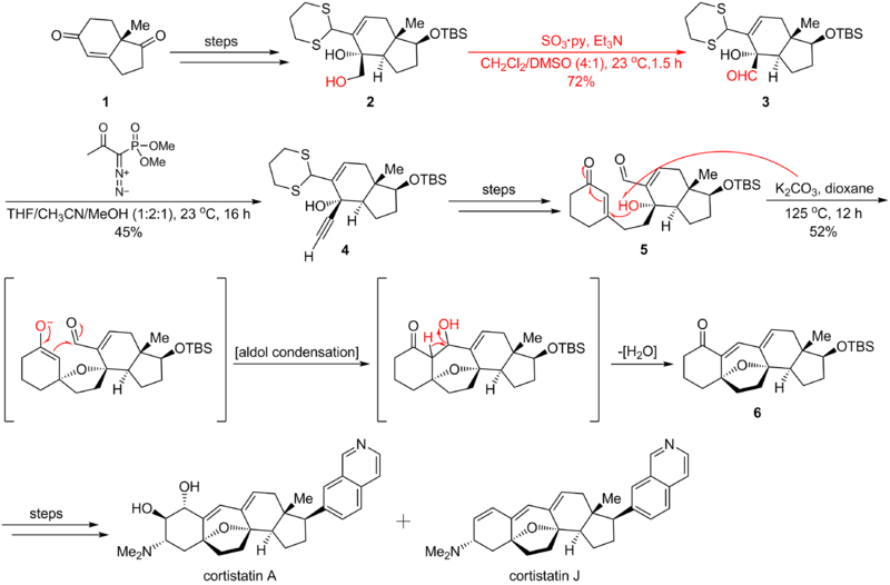 Parikh-Doering's strategic application on cortistatin2.png