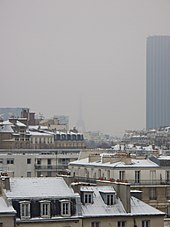 Gray, snowy aerial view of Paris