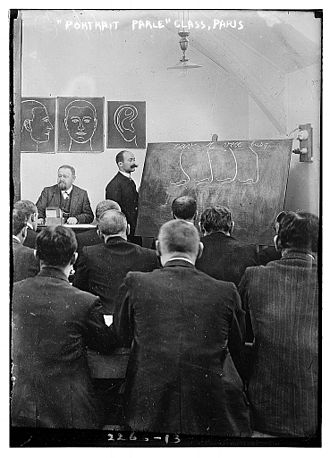 Alphonse Bertillon - Class on the Bertillon system in France in 1911