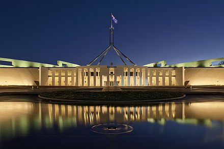 Parliament House, Canberra Parliament House at dusk, Canberra ACT.jpg