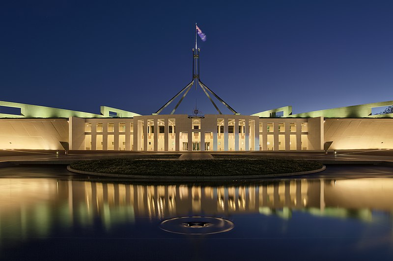File:Parliament House at dusk, Canberra ACT.jpg