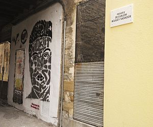 Guillem Agulló i Salvador - Passage and mural in honour of Guillem Agulló i Salvador in Vic (Catalonia).