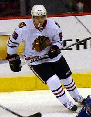Chicago Blackhawks forward Patrick Kane in a g...