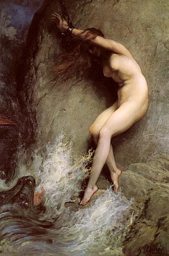 Princess and dragon - Andromeda Chained to a Rock by Gustave Doré (1869).