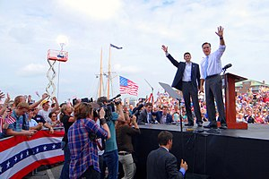 Paul Ryan - Mitt Romney with Paul Ryan after introducing him as his running mate, for the 2012 presidential election, in Norfolk, Virginia, on August 11, 2012