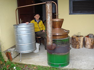 Rakia - Traditional distillation of rakia (plum brandy) in Međimurje (northern Croatia)