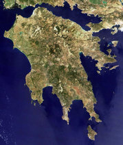 Δορυφορική εικόνα της Πελοποννήσου