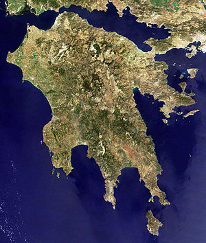 Gulf of Corinth - The Peloponnesos, seen from space rotated to conventional map orientation. The seas are dark around the peninsula, reflecting their depth and the top-centre wide inlet is the Gulf of Corinth