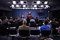 Pentagon Press Secretary George Little, at lectern, conducts a news briefing at the Pentagon in Arlington, Va., Nov. 12, 2013 131112-M-EV637-063.jpg