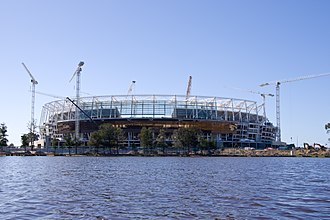 Perth Stadium - Perth Stadium under construction, photographed from East Perth in July 2016