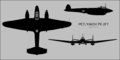 Petlyakov Pe-2FT three-view silhouette.png