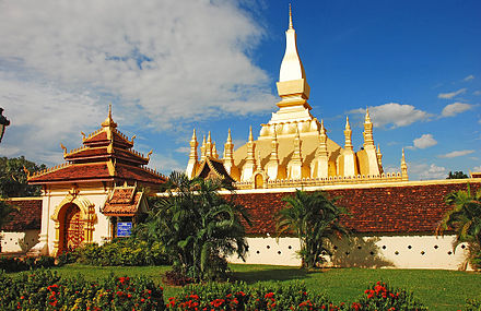Pha That Luang in Vientiane is the national symbol of Laos. Pha That Luang, Vientiane, Laos.jpg