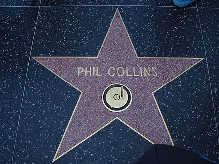 Collins' star on the Hollywood Walk of Fame was awarded to the musician for his contribution to recording. It is located at 6834 Hollywood Boulevard Phil Collins star.jpg