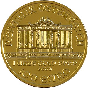 The front of an Austrian gold bullion coin