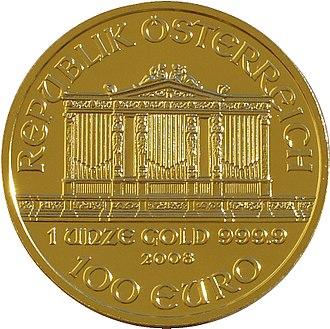 Vienna Philharmonic (coin) - Image: Philharmoniker 99 front