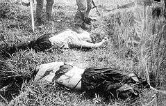 至近距離から撃たれ前頭部を吹き飛ばされた2名の妊婦(J・ボーンアメリカ海兵隊伍長撮影)[7]