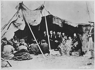 American Horse (elder) - Fort Laramie Treaty (1868). U.S. peace commissioners meet at Fort Laramie in 1868 to negotiate a treaty with the Lakota. Seated in the tent are General William S. Harney (with white beard) and General William T. Sherman (head bowed at Harney's left).