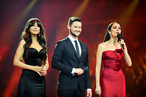Eurovision Song Contest 2012 - Presenters of the Eurovision Song Contest 2012, from left to right – Leyla Aliyeva, Eldar Gasimov and Nargiz Birk-Petersen