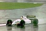 Pierluigi Martini - Minardi M193 during practice for the 1993 British Grand Prix (33645875476).jpg