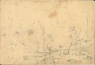 Pig hunting, Waika, Massacre Bay. March 1844. Limestone Cliffs