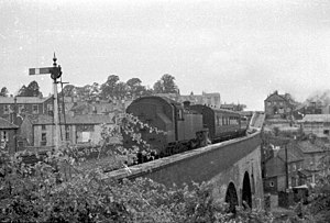 Pill railway station - A train crosses the Pill Viaduct in 1960. This is a service from Portishead, which has just left Pill.