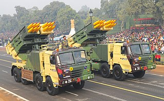 Pinaka multi-barrel rocket launcher Type of Rocket artillery