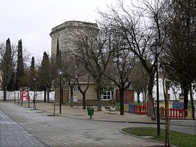 Town streets and trees with a square tower in the background