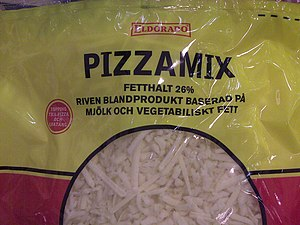 Pizza cheese - A Swedish processed pizza cheese mix prepared with milk and vegetable fat, with a total fat content of 26%