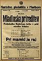 Plakat za Mladinska prireditev Podmladka Rudečega križa v prid otroške bolnice Pri mamici je raj v Narodnem gledališču v Mariboru 10. maja 1925.jpg