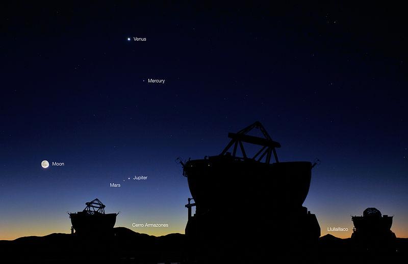 Четыре планеты и Луна перед рассветом 1 мая 2011 г на обсерватории Параналь.