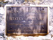 Plaque at the Alamo, San Antonio, Texas, June 4, 2007