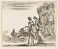 Plate 3- two girls walking towards the left, seen from behind, a woman on a horse to left in background, from 'Diversi capricci' MET DP817352.jpg