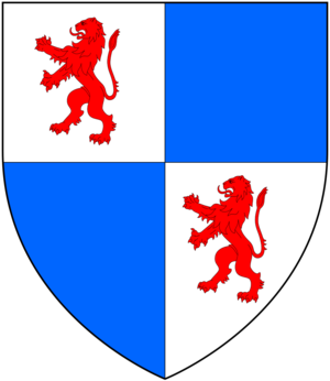 Mothecombe - Arms of Pollexfen:  Quarterly argent and azure, in the 1 and 4 quarter a lion rampant gules