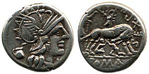 Pompeia (gens) - Denarius of Sextus Pompeius, paternal grandfather of Pompey the Great.
