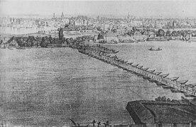 Pontoon bridge in Novi Sad, early 19th century