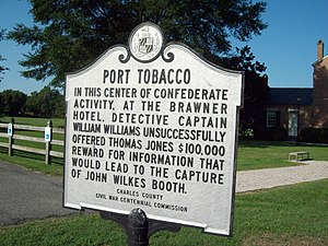 English: Port Tobacco Historic Marker, Septemb...