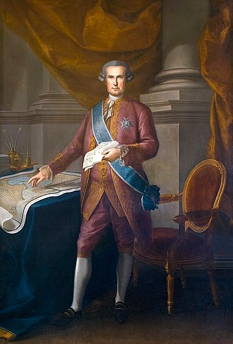 Jose de Galvez, 1st Marquess of Sonora, Visitador in New Spain, who initiated major reforms Portrait of Jose de Galvez.jpg