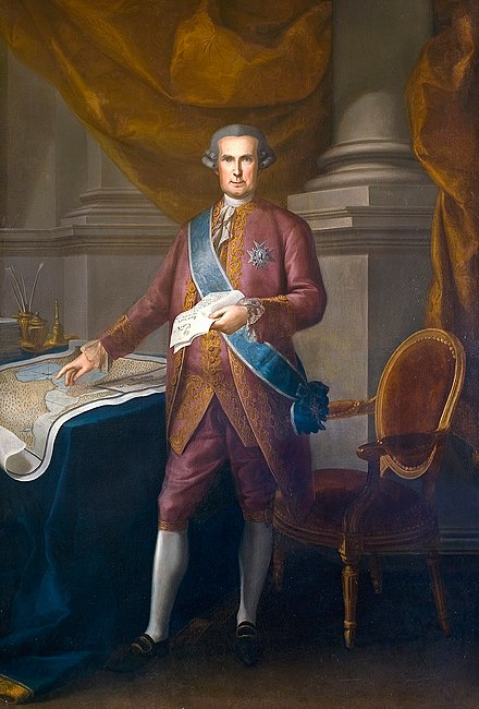 Jose de Galvez, Visitador general in New Spain (1765-71), was instrumental in the Jesuit expulsion in 1767 in Mexico, considered part of the Bourbon Reforms. Portrait of Jose de Galvez.jpg