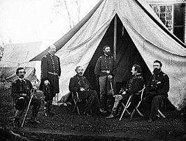 Bevelhebbers van het Army of the Potomac in Culpeper (Virginia), 1863. V.l.n.r.: Gouverneur K. Warren, William H. French, George G. Meade, Henry J. Hunt, Andrew A. Humphreys, George Sykes