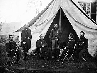 Army of the Potomac - Commanders of the Army of the Potomac at Culpeper, Virginia, 1863. From the left: Gouverneur K. Warren, William H. French, George G. Meade, Henry J. Hunt, Andrew A. Humphreys, George Sykes