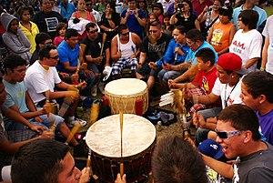 Drum circle - Atikamekw drum circle at a pow-wow in Manawan, Quebec, Canada
