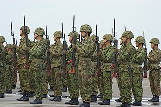Present arms (command) - Soldiers of Japan Ground Self-Defense Force present arms with bayonets fixed