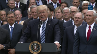 American Health Care Act of 2017 - President Trump celebrating with a number of key Republicans at the Rose Garden the House passage of the American Health Care Act