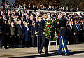 President of the United States Barack Obama positions a commemorative wreath during a Veterans Day ceremony at the Tomb of the Unknowns in Arlington National Cemetery, Arlington, Va., Nov. 11, 2013 131111-A-EE013-001.jpg