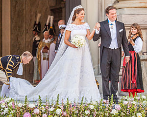 Wedding dress - Princess Madeleine of Sweden and Christopher O'Neill in their wedding clothes, Stockholm, 2013
