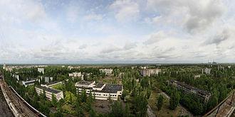 Pripyat - Panoramic view of Pripyat in May 2009