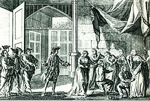 Privateer - Woodes Rogers' men search Spanish ladies for their jewels in Guayaquil, 1709